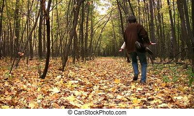 jongen, toneelstuk, vader, park, herfst, schaaf