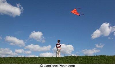 jongen, toneelstukken, weide, vlieger