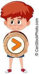 jongen, vasthouden, symbool, student, meldingsbord, witte , spotprent, karakter, achtergrond, wiskunde, vrijstaand, basis, of