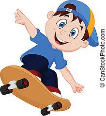 jongen, vrolijke , spotprent, skateboard