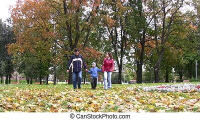 jongen, wandelende, park, gezin