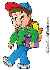 jongen, wandelende, school, spotprent
