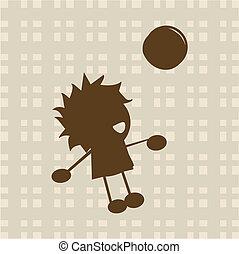 jongen, weinig; niet zo(veel), bal, spelend
