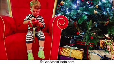 jongen, weinig; niet zo(veel), eva, hebben, baby, plezier, schattige, kerstmis