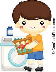 jongen, weinig; niet zo(veel), het wassen kleren