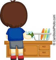 jongen, weinig; niet zo(veel), vaatwas