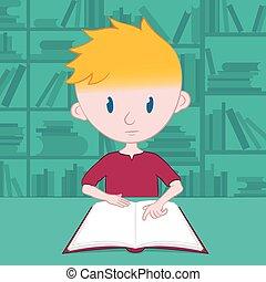 jongen, weinig; niet zo(veel), zichzelf, lezende , bibliotheek