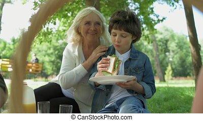 jongen, weinig; niet zo(veel), zijn, picknick, gezin, positief, hebben