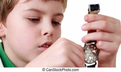 jongen, witte , horloge, wristlet, begin