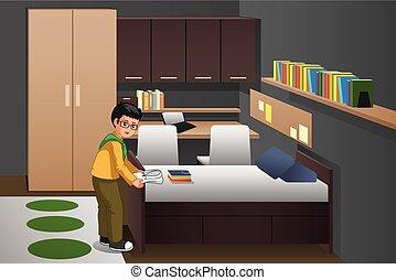 jongen, zijn, het vouwen, illustratie, slaapkamer, kleren