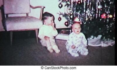 jongens, spelend, kerstmis, tree-1965