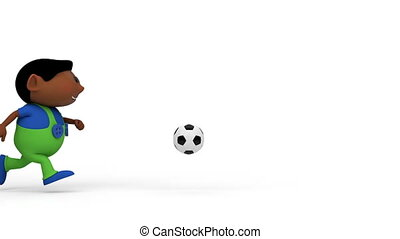 jongens, voetbal, spelend