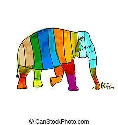jouw, elefant, gekke , ontwerp, gestreepte
