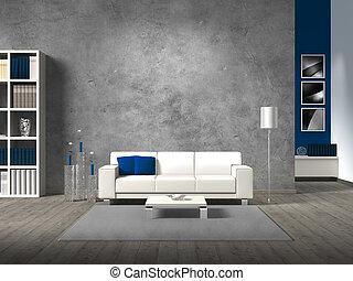 jouw, kamer, de ruimte van het exemplaar, beelden, levend, eigen, muur, moderne, beton