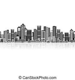 jouw, kunst, achtergrond, seamless, cityscape, stedelijk ontwerp