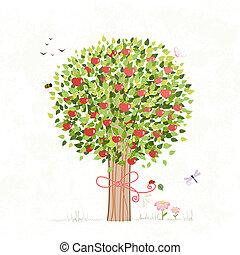 jouw, ontwerp, boompje, appel, boog