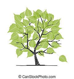 jouw, ontwerp, boompje, groene, berk