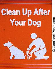 jouw, -, publiek, dog, schoonmaken, meldingsbord, na, op