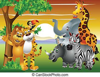 jungle, dier, spotprent