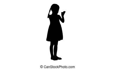 jurkje, haar, handgeklap, black , verrukt, meisje, hands., silhouette