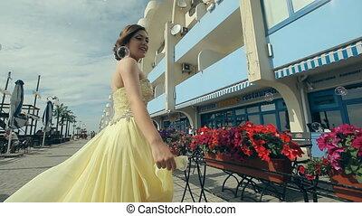 jurkje, rijk, meisje, mooi, lemony, aantrekkelijk, leven, haar, strapless, lang, genieten