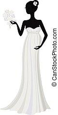 jurkje, silhouette, zwangere , lang, bruid, vector