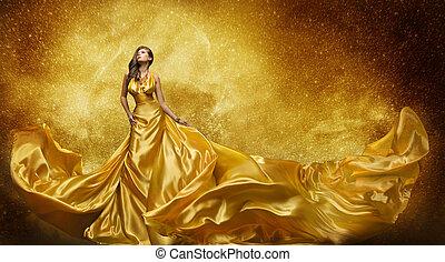 jurkje, weefsel, mode, toga, goud, gouden, hemel, vrouw, sterretjes, vloeiend, model, zijde, meisje