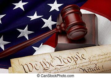 justitie, amerikaan, stilleven