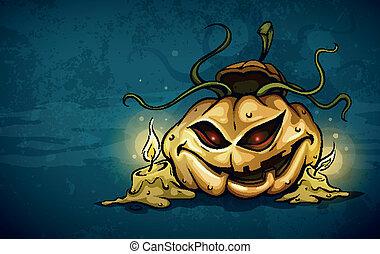 kaarsjes, hefboom-o-lantaarn, verschrikkelijk, gezicht, nacht, het glimlachen