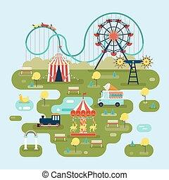 kaart, aantrekkingen, circus, park, of, vermaak