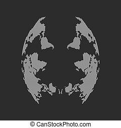 kaart, abstract gezicht, wereld, inverted