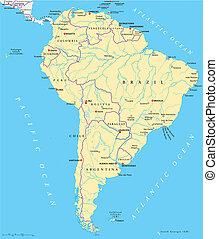 kaart, amerika, politiek, zuiden