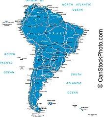 kaart, amerika, zuiden, straat