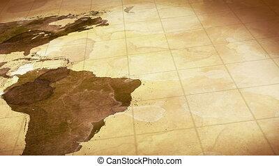 kaart, bevlekte, grunge, wereld