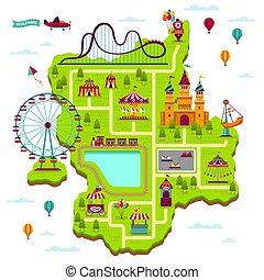 kaart, communie, gezin, straatfeest, map., amuseren, park, vrije tijd, spelen, aantrekkingen, fairground, funfair, plan, spotprent, vermaak, geitje