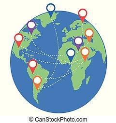kaart, communie, reizen, plaats, spelden, aarde, geo