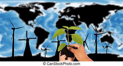 kaart, concept, gemeubileerd, dit, beeld, nasa., communie, vernieuwbaar, wereld, turbine, sparen, aarde