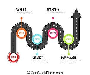 kaart, concept, success., richting, infographic., straat, wikkeling, vector, straat, footpath, uitstapjes, reis, reizen