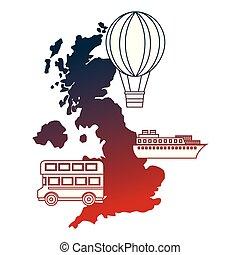 kaart, dek, bus, balloon, brits, lucht, warme, dubbel, scheeps