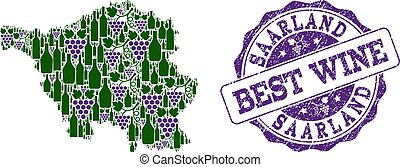 kaart, druif, collage, saarland, postzegel, staat, best, wijntje