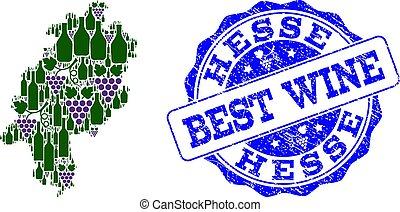 kaart, druif, postzegel, hesse, staat, samenstelling, best, wijntje