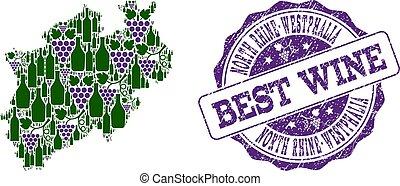kaart, druif, rhine-westphalia, collage, postzegel, staat, noorden, best, wijntje