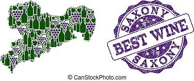 kaart, druif, saksen, postzegel, staat, samenstelling, best, wijntje