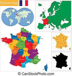kaart, frankrijk