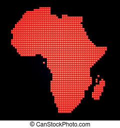 kaart, gemaakt, afrika, pixels, rood