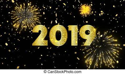 kaart, goud, jaar, nieuw, 2019, hemel, animatie, vuurwerk