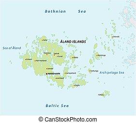 kaart, groep, fins, eiland, vector, aland