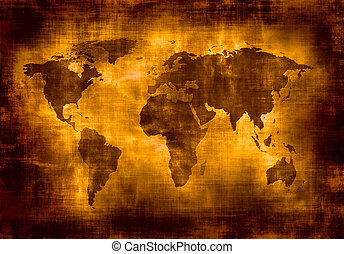 kaart, grunge, wereld