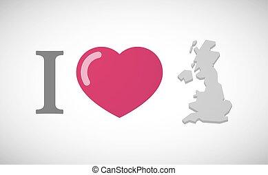 """kaart, """"i, hiëroglief, love"""", uk"""