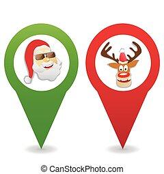 kaart, kerstmis, spotprent, spelden, iconen